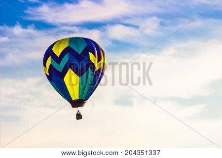 Lone Hot Air Balloon In Early Morning