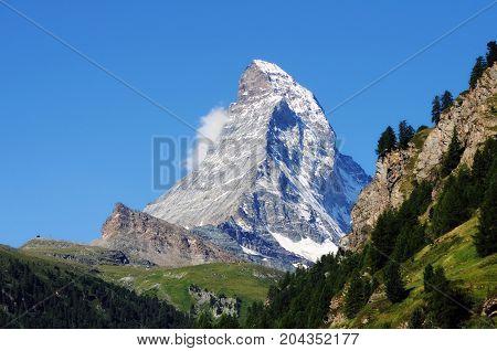 Classic view of the Matterhorn from Zermatt