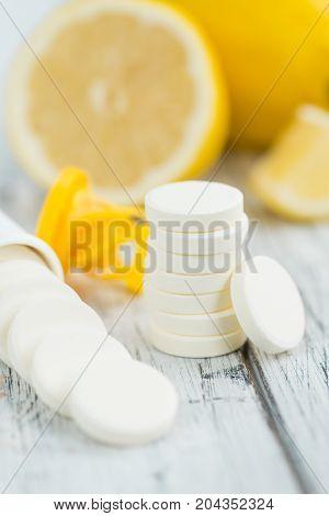Portion Of Vitamin C Tablets