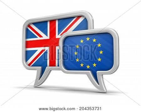 3d Illustration. Speech bubbles with Europian Union and UK flags. Image with clipping path