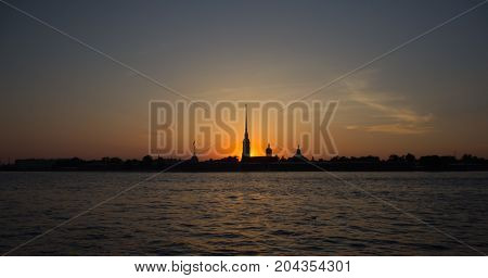 The Peter-Pavel`s fortress on the Neva River in Saint-Peterburg