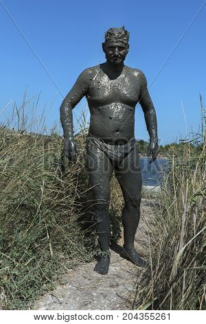 Mud Bath Lake Cure Spa Resort Man Wet