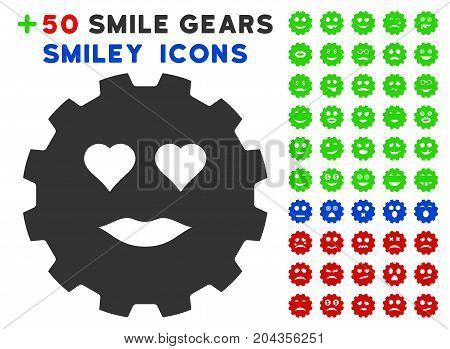 Lady Love Smiley Gear icon with bonus smiley pictograms. Vector illustration style is flat iconic elements for web design, app user interfaces.