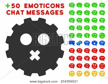 Mute Smiley Gear pictograph with bonus smile pictures. Vector illustration style is flat iconic elements for web design, app user interfaces.