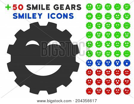 Pleasure Smiley Gear icon with bonus smiley icon set. Vector illustration style is flat iconic symbols for web design, app user interfaces.