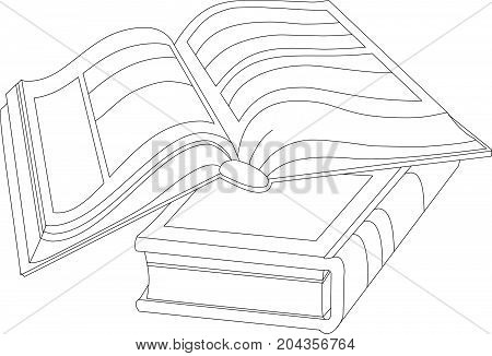 Black and white vector art. Two books. One book is open, the second is closed.