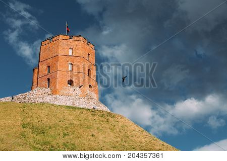 Vilnius, Lithuania. Famous Tower Of Gediminas Or Gedimino In Historic Center. UNESCO World Heritage. Upper Vilnius Castle Complex In Old Town Is Popular Place, Tourist Destination
