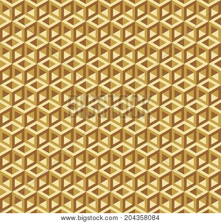 Seamless Optical Illusion Hollow Empty Golden Cube Frame Pattern Texture Background
