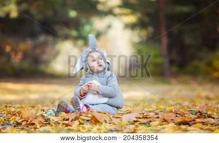 Cute little girl in elephant costume looking up while playing in autumn forest