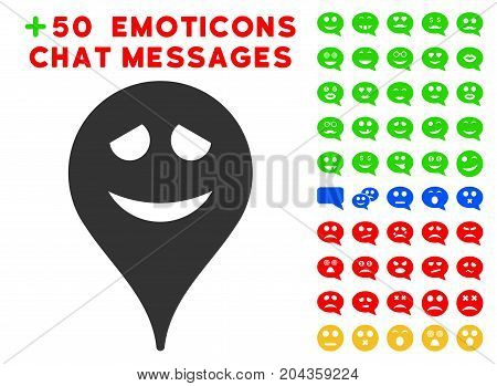 Embarrassment Smiley Map Marker pictograph with bonus emoticon icon set. Vector illustration style is flat iconic elements for web design, app user interfaces.