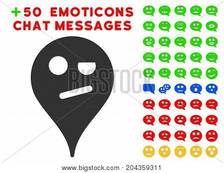 Infidelity Smiley Map Marker pictograph with bonus emoticon pictures. Vector illustration style is flat iconic symbols for web design, app user interfaces.
