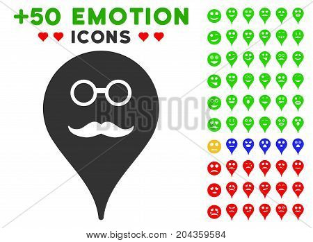 Retired Smiley Map Marker pictograph with bonus smiley pictograms. Vector illustration style is flat iconic symbols for web design, app user interfaces.