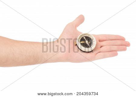 Male hand compass on white background isolation