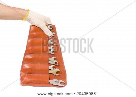 Male hands building construction keys on white background isolation