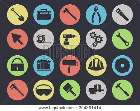 Work tools icons set isolated on black background