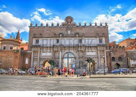ROME, ITALY- JULY 16, 2017: Porta del Popolo (Porta Flaminia of ancient Rome) northern gate in the Aurelian Walls in Rome, Italy. Porta del Popolo is the main entrance of Piazza del Popolo Rome Italy.