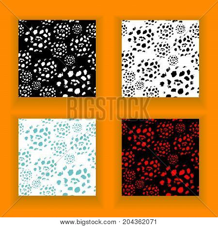 Set  abstract seamless pattern made by artist acrylic hard brushes in black white blue red for creative design or for grunge artistic background  or for  decoration  package of perfume  cosmetic