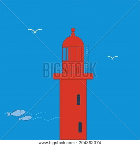 Vector illustration: Red Lighthouse or Beacon icon made in a simple flat style.