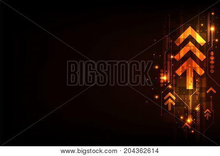 Moving digital to the future world on a dark orange background.