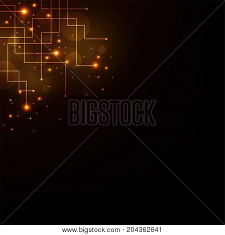 Technology in the concept of electronic circuits on a dark orange background.