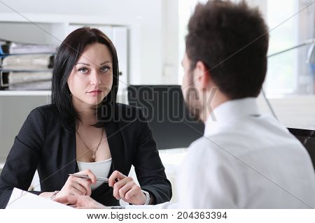Beautiful Brunette Businesswoman Portrait At Workplace