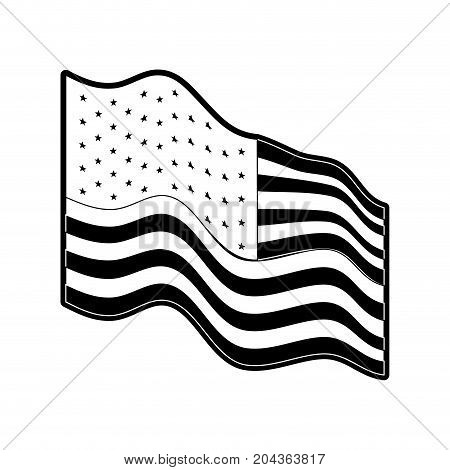flag united states of america waving side in monochrome silhouette vector illustration