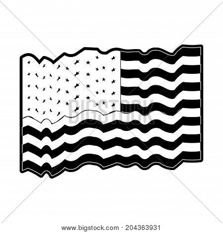 flag united states of america several waves in monochrome silhouette vector illustration