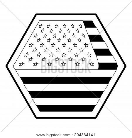 shield in hexagon shape with flag united states of america in monochrome silhouette vector illustration