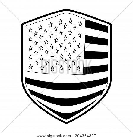 badge of flag united states of america in monochrome silhouette vector illustration