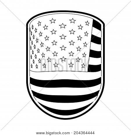 emblem with flag united states of america in monochrome silhouette vector illustration