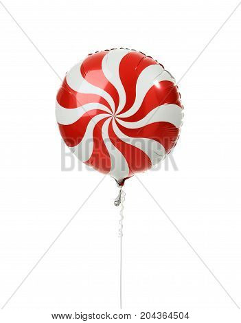 Single red big round candy lollypop balloon object for birthday isolated on a white background