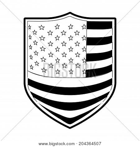 badge with flag united states of america in monochrome silhouette vector illustration
