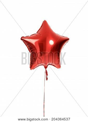 Single red big star metallic balloon object for birthday isolated on a white background