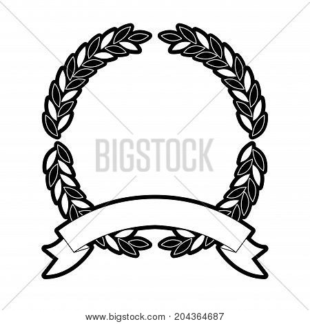olive branches forming a circle with ribbon thick on bottom in monochrome silhouette vector illustration