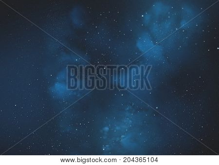 Galaxy with Blue Nebula. Starry Sky. Universe Filled With Stars.
