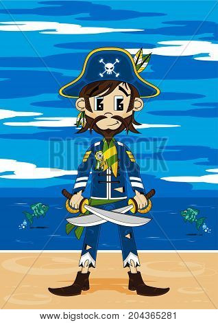 Bearded Pirate On Beach
