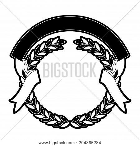 olive branches and ribbon interlace in monochrome silhouette vector illustration