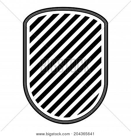 rounded shield with striped in monochrome silhouette vector illustration