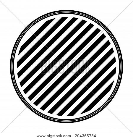 round emblem striped in monochrome silhouette vector illustration