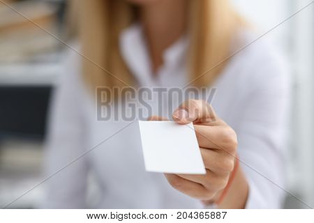 Female Hand In White Shirt Give Blank Calling Card