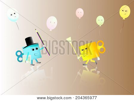 Concept Cartoons colorful boxes hold the pencil and paintbrush with balloons backgroundVector illustration.