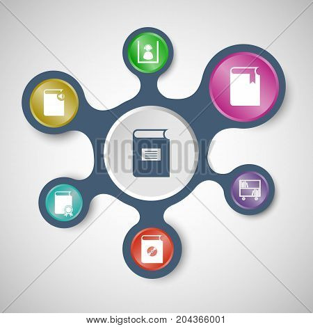 Library infographic templates with connected metaballs, stock vector