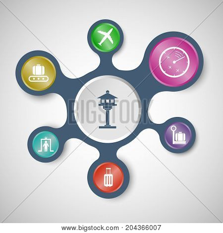 Airport infographic templates with connected metaballs, stock vector