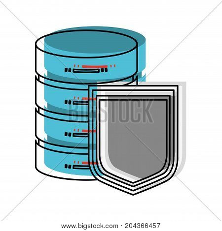 server hosting storage and protection shield in watercolor silhouette vector illustration