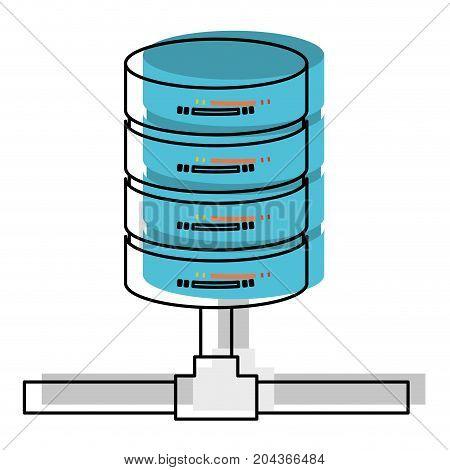 network server storage in watercolor silhouette vector illustration