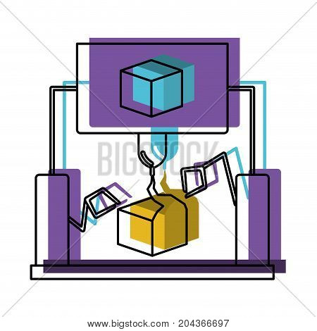 cube design with robotic hands in watercolor silhouette vector illustration