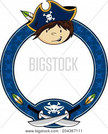 Cute Cartoon Buccaneer Pirate Captain with Swords Illustration