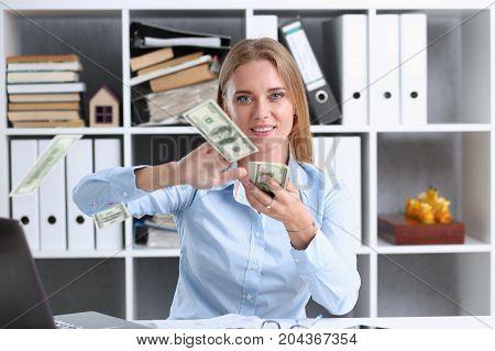 Beautiful Business Woman Portrait At Workplace.