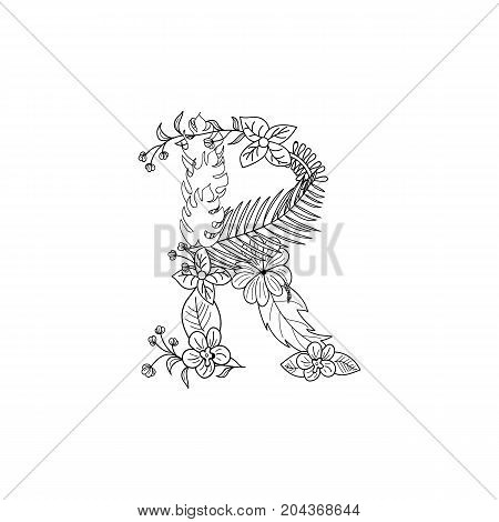Tropical floral summer pattern hand drawn ornamental font with palm beach leaves, flower. Letter R