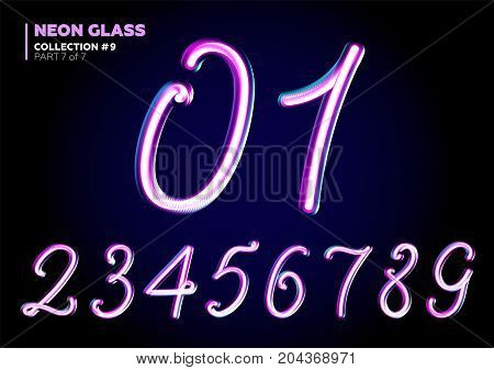 3D Glass Letters with Night Neon Light Effect Glossy Purple and Blue Colors. Glowing in the Dark Typeset for Party Decoration DJ Poster Black Friday Sale Banner Electronic Music Fest.